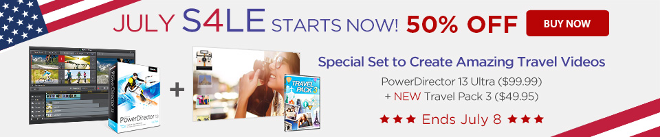 50% OFF Special Set including PowerDirector 13 Ultra & Travel Pack 3