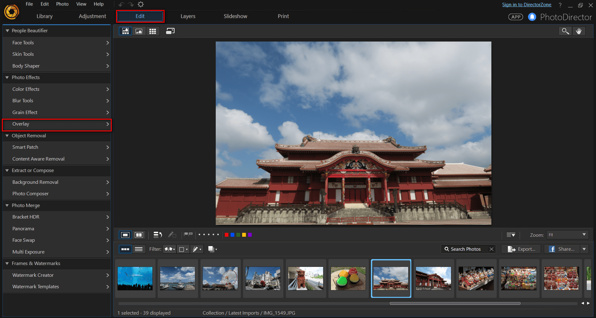 Adding overlay effects in PhotoDirector 8 | The CyberLink