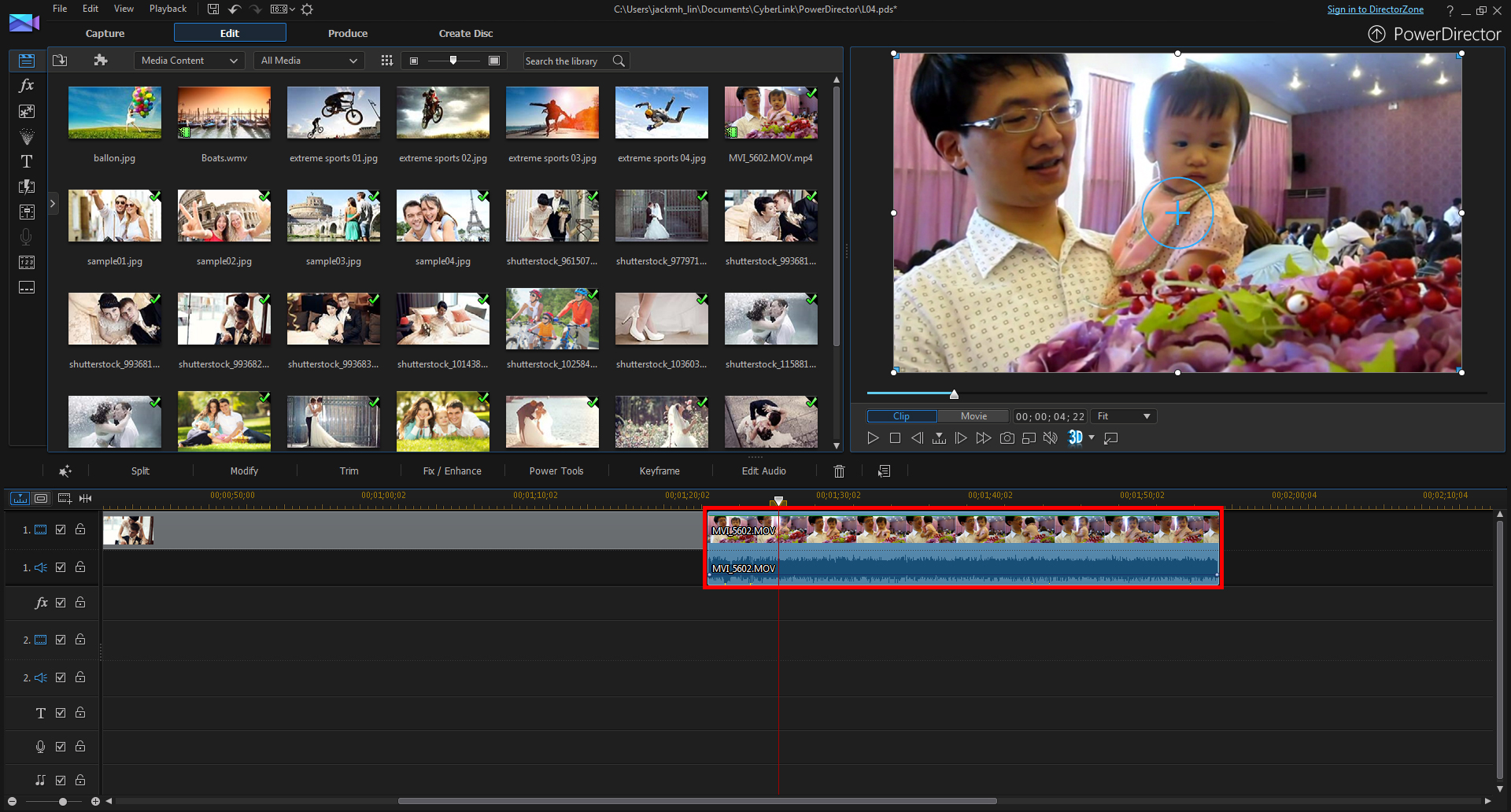 Click And Drag Your Wedding Video To Editing Track 1