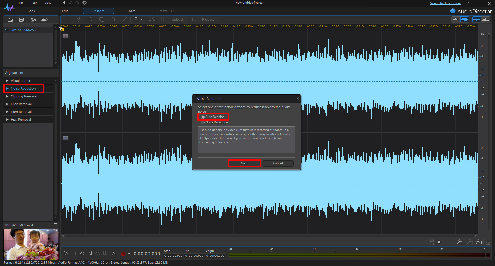 Restoring the Audio in a Wedding Video with AudioDirector | The