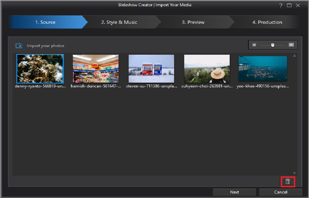Create a slideshow video with motion templates powerdirector video if you wish to change the sequence of photos click on a photo thumbnail and drag it to the location in the window where you want it maxwellsz