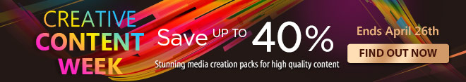 Save up to 40% on stunning media creation packs for high quality content